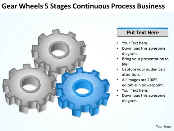Wheels 5 Stages Continuous Process Business Ppt Plan PowerPoint Slides