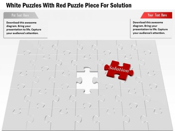 White Puzzles With Red Puzzle Piece For Solution Presentation Template