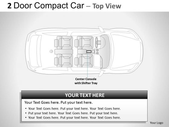 Winding 2 Door Gray Car Top PowerPoint Slides And Ppt Diagram Templates