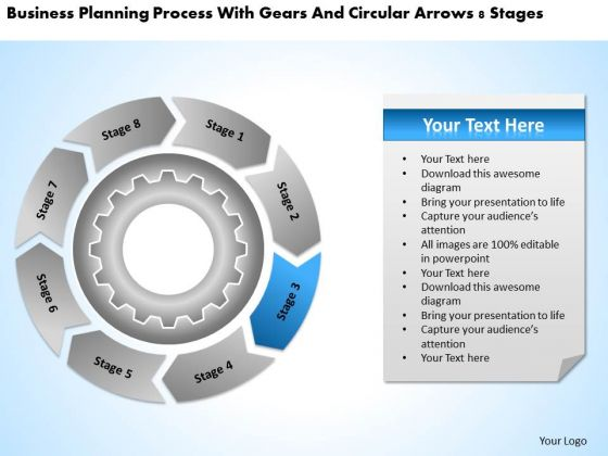 With Gears And Circular Arrows 8 Stages Business Plan Outlines PowerPoint Templates