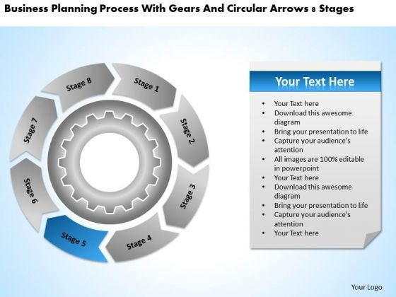 With Gears And Circular Arrows 8 Stages Convenience Store Business Plan PowerPoint Slides