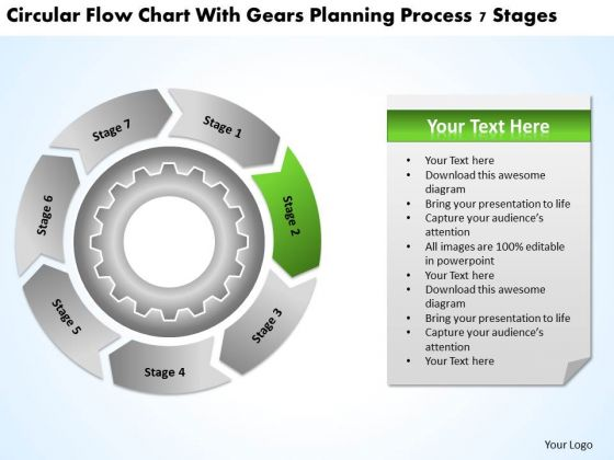 With Gears Planning Process 7 Stages Business Templates PowerPoint