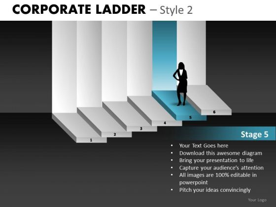 Woman Climbing Corporate Ladder PowerPoint Ppt Templates
