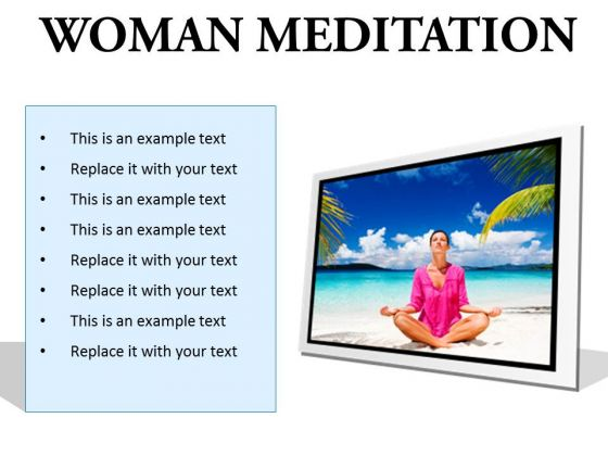 Woman Meditation Beach PowerPoint Presentation Slides F