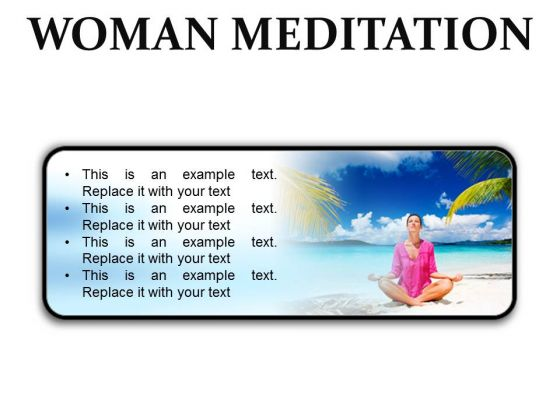 Woman Meditation Beach PowerPoint Presentation Slides R
