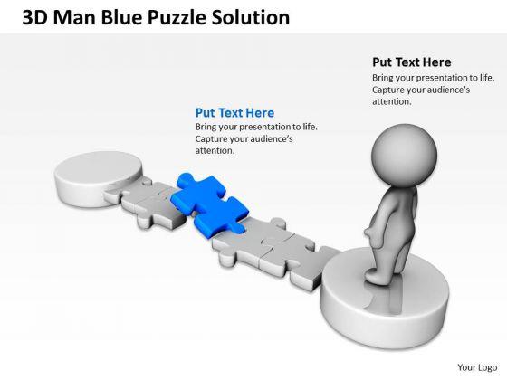 Work Flow Business Process Diagram 3d Man Blue Puzzle Solution PowerPoint Slides