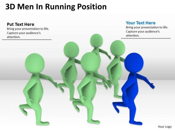 Work Flow Business Process Diagram 3d Men Running Position PowerPoint Slides