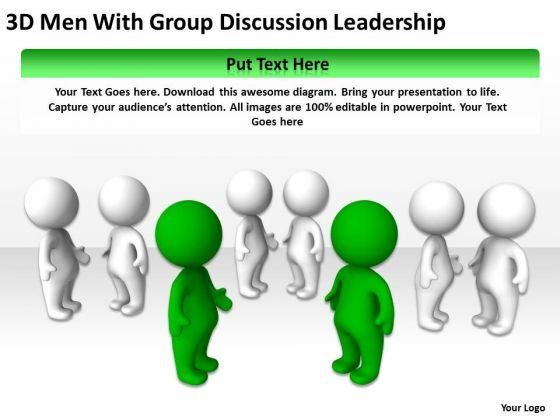 Work Flow Business Process Diagram 3d Men With Group Discussion Leadership PowerPoint Slides