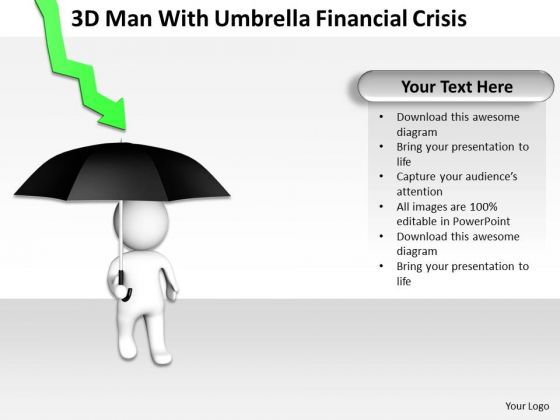 Work Flow Business Process Diagram Man With Umbrella Financial Crisis PowerPoint Templates