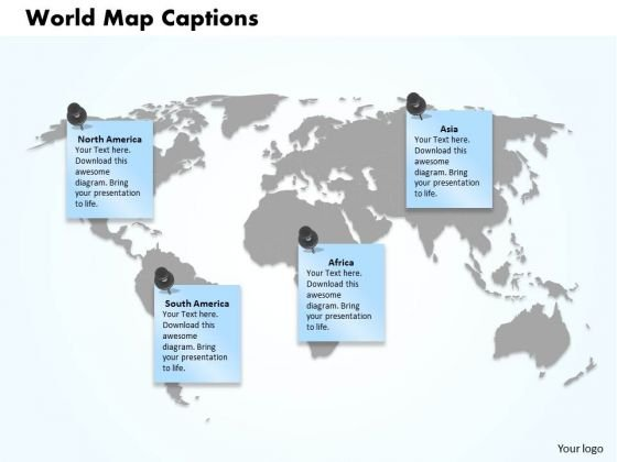 World Map Captions PowerPoint Presentation Template