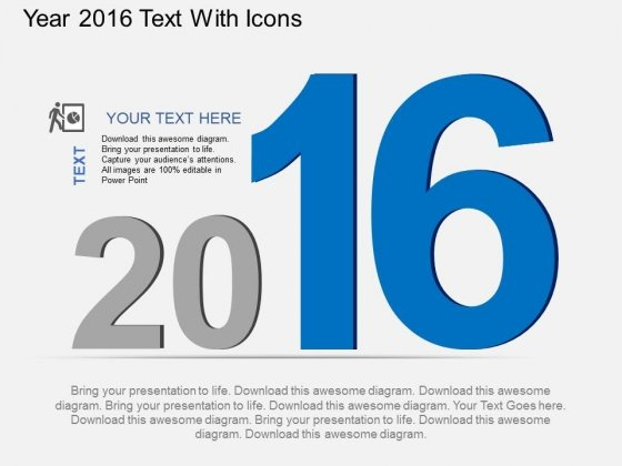 Year 2016 Text With Icons Powerpoint Template