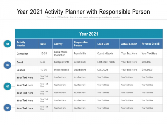 Year 2021 Activity Planner With Resposible Person Ppt PowerPoint Presentation Portfolio Tips PDF