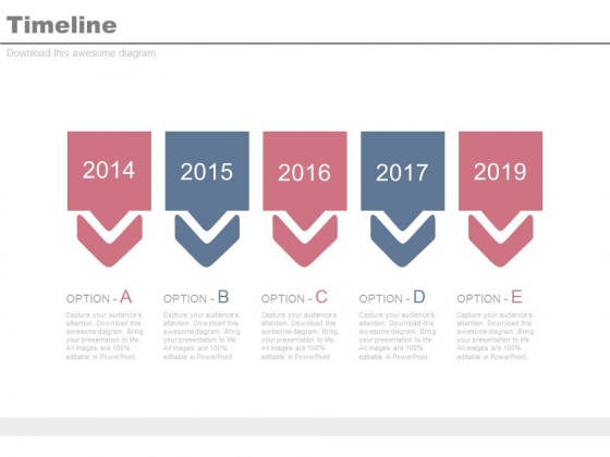 Year Based Linear Timeline For Business Planning Powerpoint Slides
