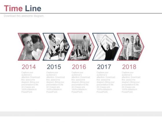 Year Based Photo Arrow Design Timeline Powerpoint Slides
