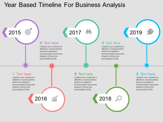 Year Based Timeline For Business Analysis Powerpoint Template