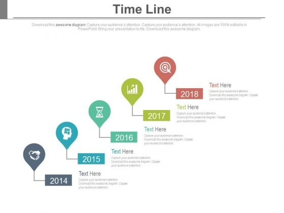 Year Based Timeline With Icons Powerpoint Slides