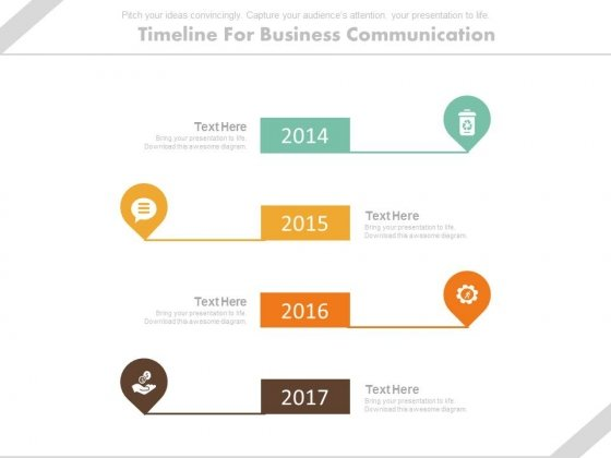 Year Based Vertical Timeline For Business Communication Powerpoint Slides