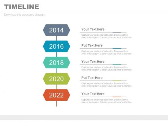 Year Based Vertical Timeline For Business Vision Powerpoint Slides - Business timeline template