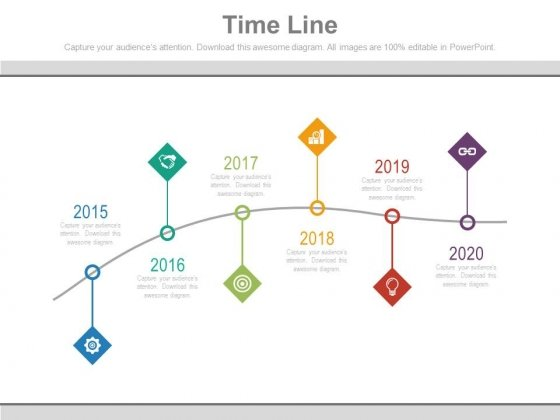 Year Tags Sequential Timeline With Icons Powerpoint Slides