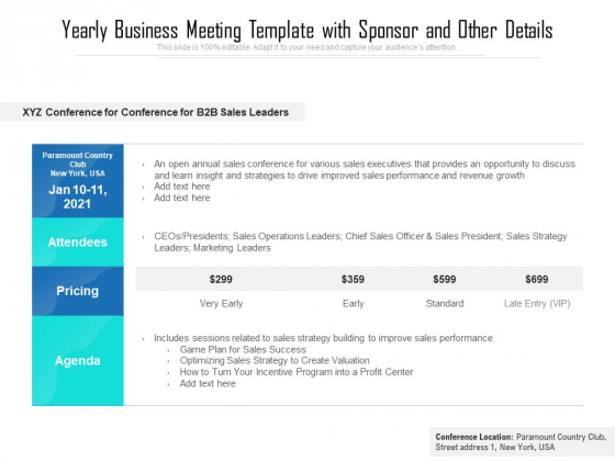 Yearly Business Meeting Template With Sponsor And Other Details Ppt PowerPoint Presentation File Ideas PDF