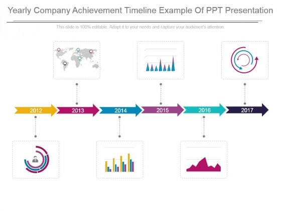 Yearly Company Achievement Timeline Example Of Ppt Presentation