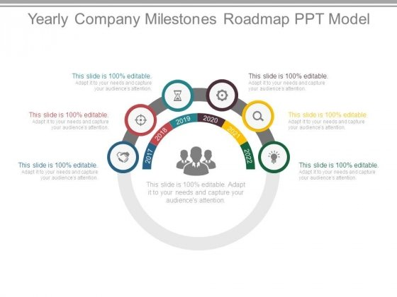 Yearly Company Milestones Roadmap Ppt Model