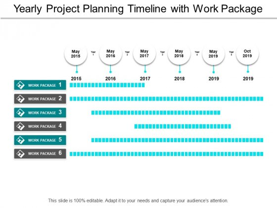 Yearly Project Planning Timeline With Work Package Ppt PowerPoint Presentation Gallery Backgrounds