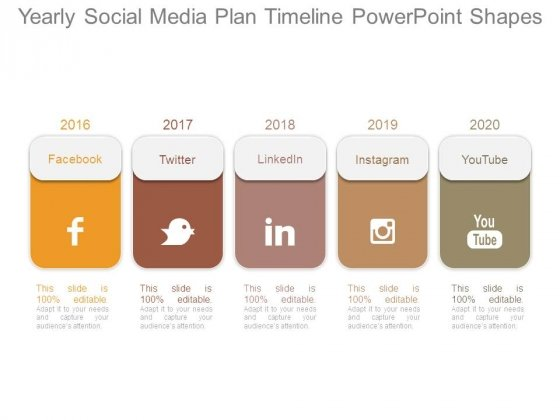 Yearly Social Media Plan Timeline Powerpoint Shapes