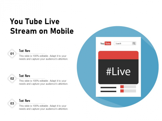 You Tube Live Stream On Mobile Ppt PowerPoint Presentation Summary Background Image PDF