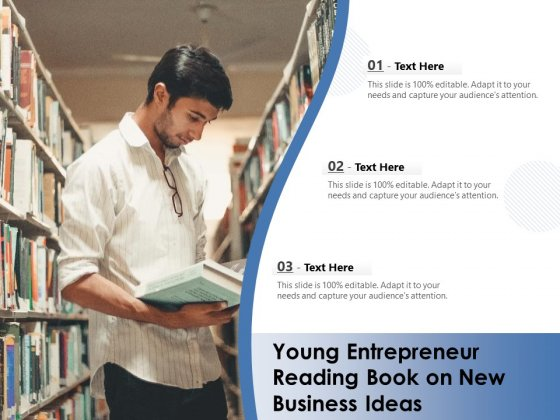 Young Entrepreneur Reading Book On New Business Ideas Ppt PowerPoint Presentation Icon Demonstration PDF