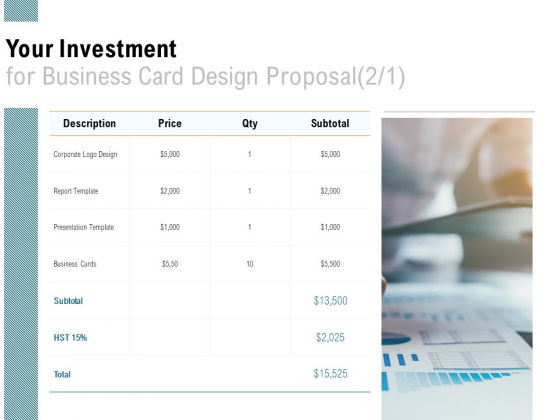 Your Investment For Business Card Design Proposal Financial Ppt PowerPoint Presentation Portfolio Grid