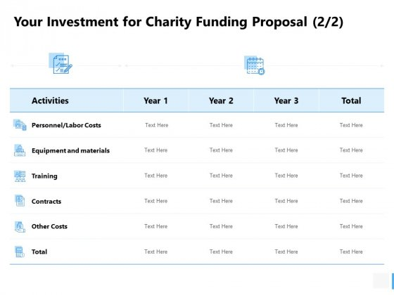 Your Investment For Charity Funding Proposa Costs Ppt PowerPoint Presentation Visual Aids Summary