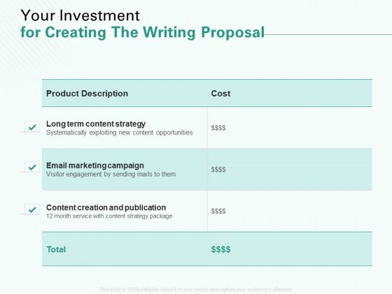 Your Investment For Creating The Writing Proposal Ppt Icon Graphics Pictures PDF