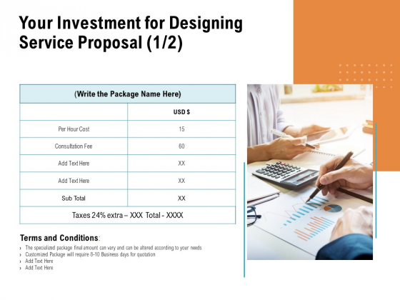Your Investment For Designing Service Proposal Cost Ppt PowerPoint Presentation File Picture