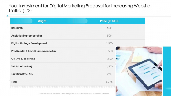 Your Investment For Digital Marketing Proposal For Increasing Website Traffic Analytics Introduction PDF