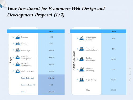 Your Investment For Ecommerce Web Design And Development Proposal Ppt Ideas Diagrams PDF