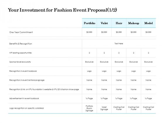 Your Investment For Fashion Event Proposal Opportunities Ppt PowerPoint Presentation File Guidelines