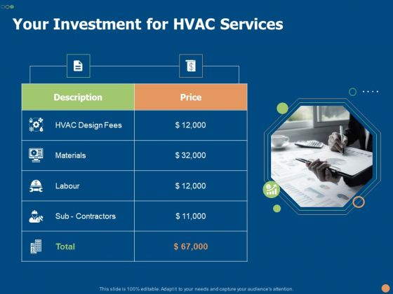 Your Investment For HVAC Services Ppt PowerPoint Presentation Outline Background Image PDF