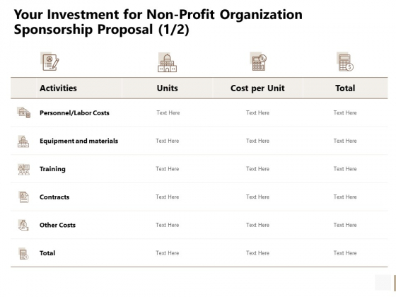 Your Investment For Non Profit Organization Sponsorship Proposal Costs Sample PDF
