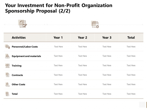 Your Investment For Non Profit Organization Sponsorship Proposal Labor Icons PDF