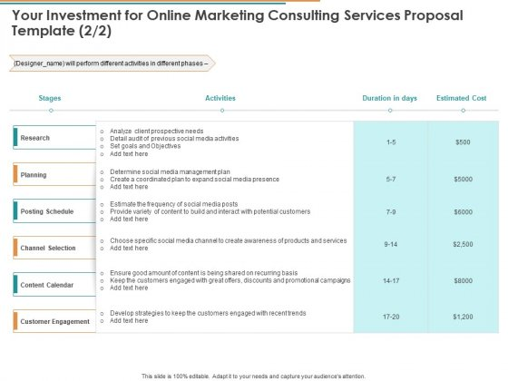 Your Investment For Online Marketing Consulting Services Proposal Template Planning Ppt Inspiration Format Ideas PDF