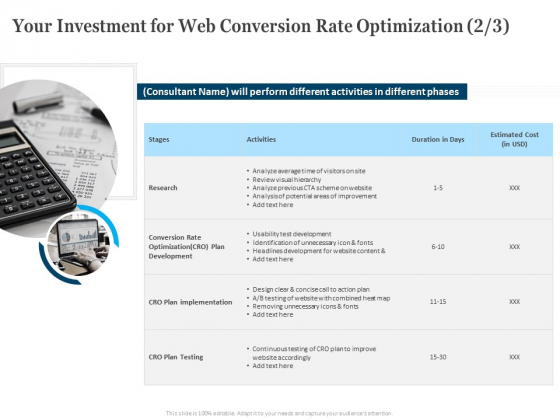 Your Investment For Web Conversion Rate Optimization Activities Ppt Layouts Demonstration PDF