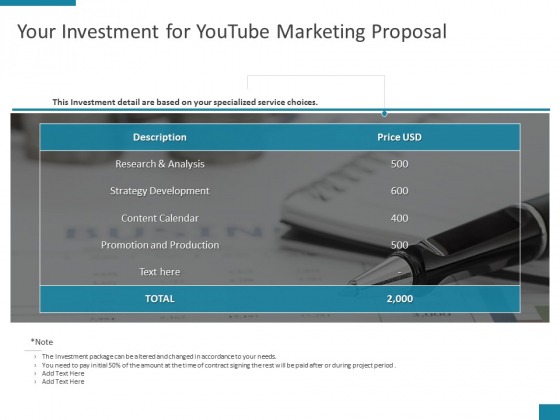 Your Investment For Youtube Marketing Proposal Ppt PowerPoint Presentation Pictures File Formats