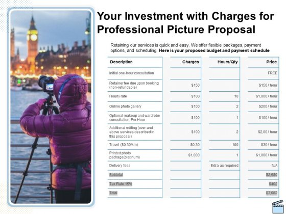 Your Investment With Charges For Professional Picture Proposal Ppt Infographics Slide PDF