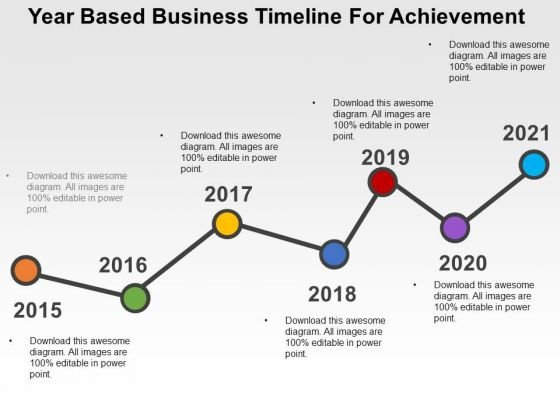 Year Based Business Timeline For Achievement PowerPoint Template - Business timeline template
