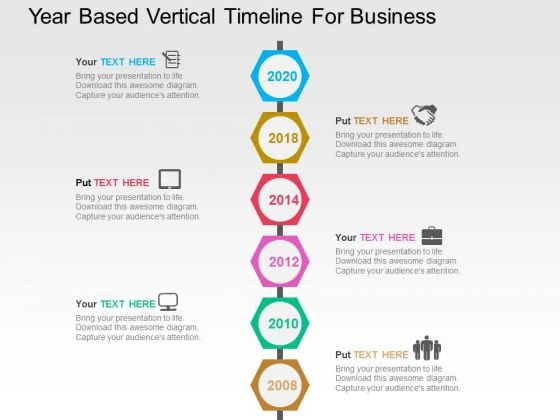 year based vertical timeline for business powerpoint template