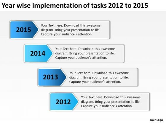 Year Wise Implementation Of Tasks 2012 To 2015 PowerPoint Templates Ppt Slides Graphics