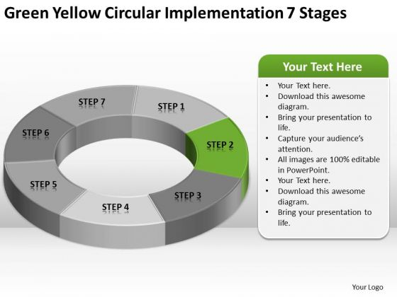yellow circular implementation 7 stages business plan template, Modern powerpoint