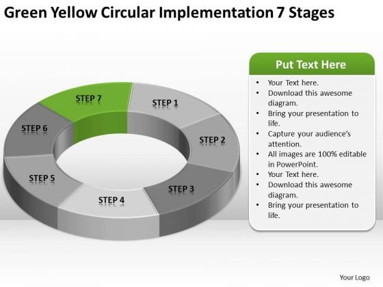 Yellow Circular Implementation 7 Stages Ppt Company Description Business Plan PowerPoint Slides