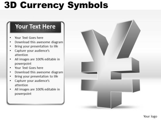 Yen 3d Currency Symbol PowerPoint Slides And Ppt Diagram Templates